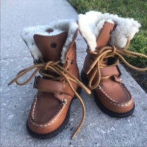 Polo Ralph Lauren ranger shearling boots 7 leather